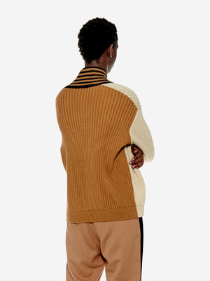Two-toned stripe ribbed sweater