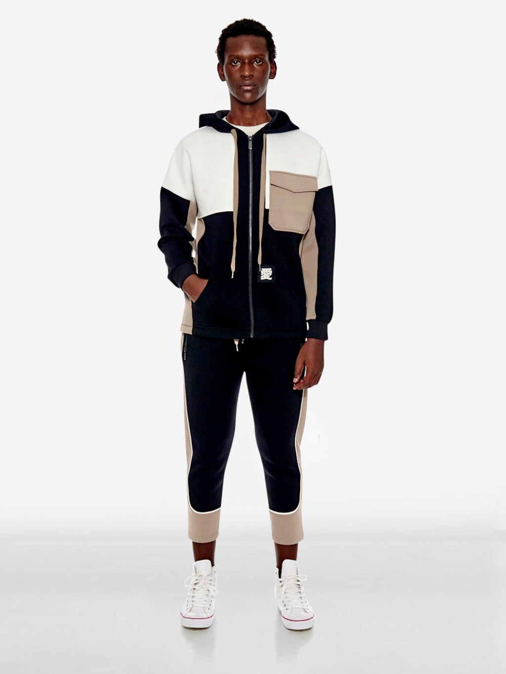 'LOVE' letter utility colourblock jersey jacket