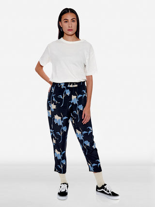 Retro abstract floral print tailored trousers