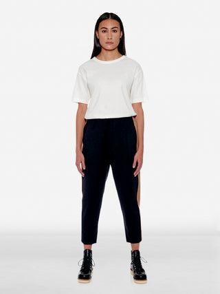 Bicolour side stripe wool trousers