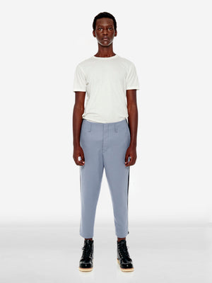 Contrast side stripe wool trousers