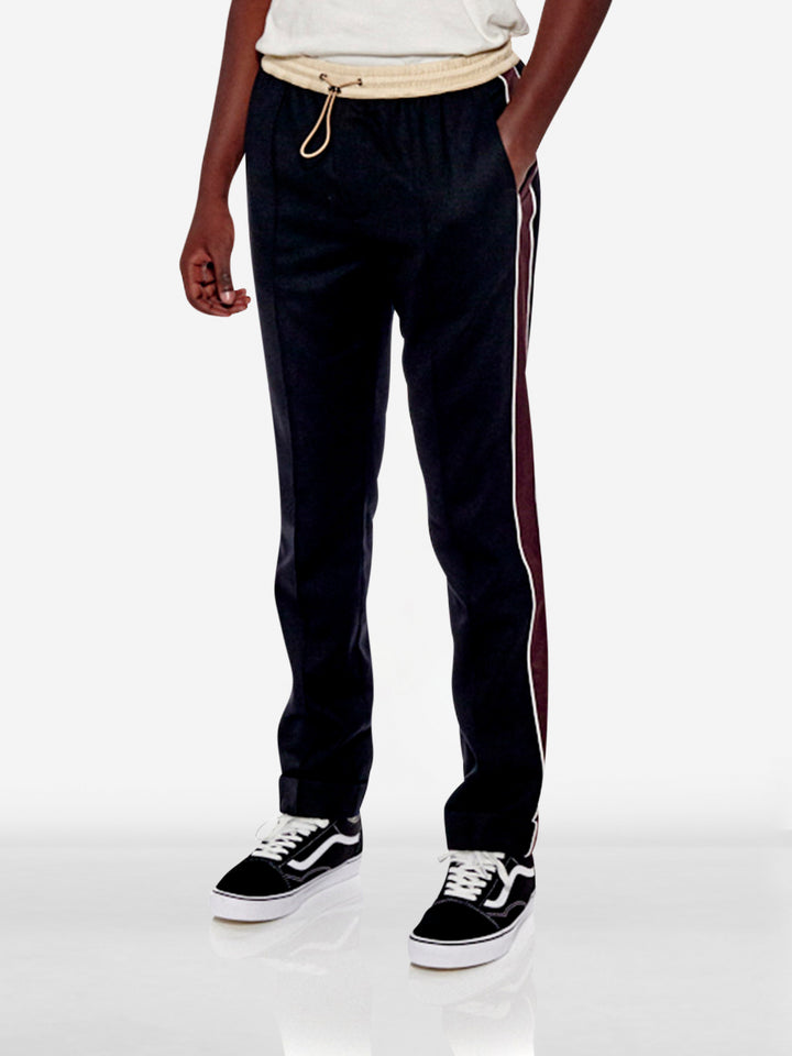Two-toned colour waist drawstring jogging trousers