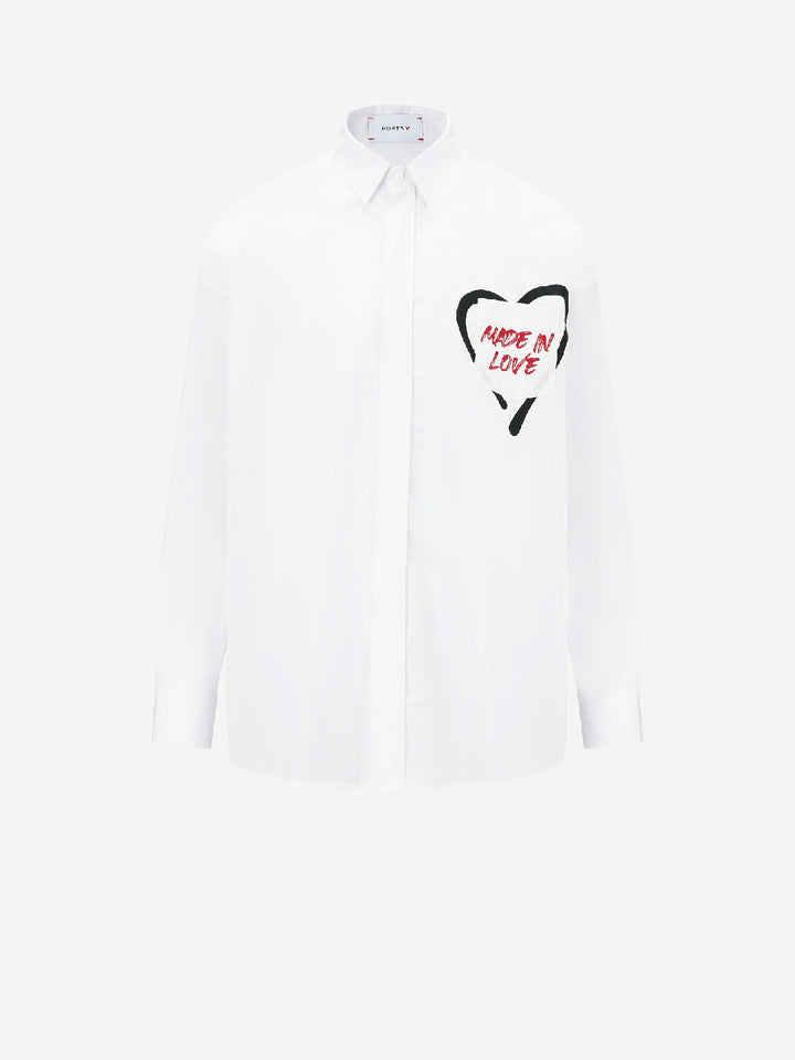 """Made In Love"" White Button Down Shirt"