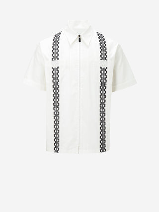 Double Striped Short Sleeve Cotton Shirt