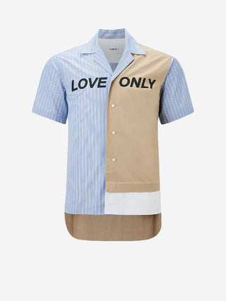 Multi-Panel LOVE ONLY Short Sleeve Button Down Shirt