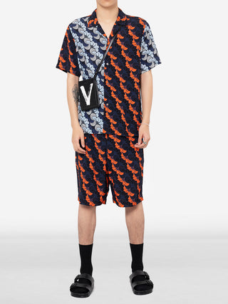 Gingko Print Multi Coloured Short Sleeve Button Down Shirt