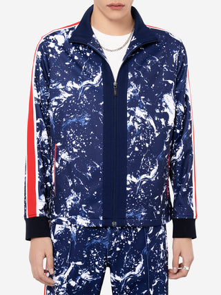 Marbling Knit Mock Neck Zip Up Jacket