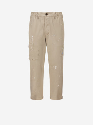 Splatter Distressed Khaki Pants