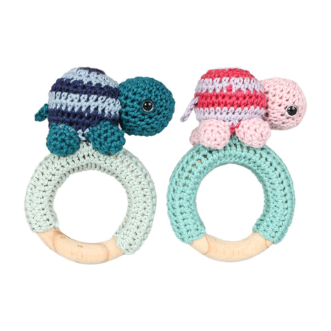 Cotton Teether Rattle - Tortoise