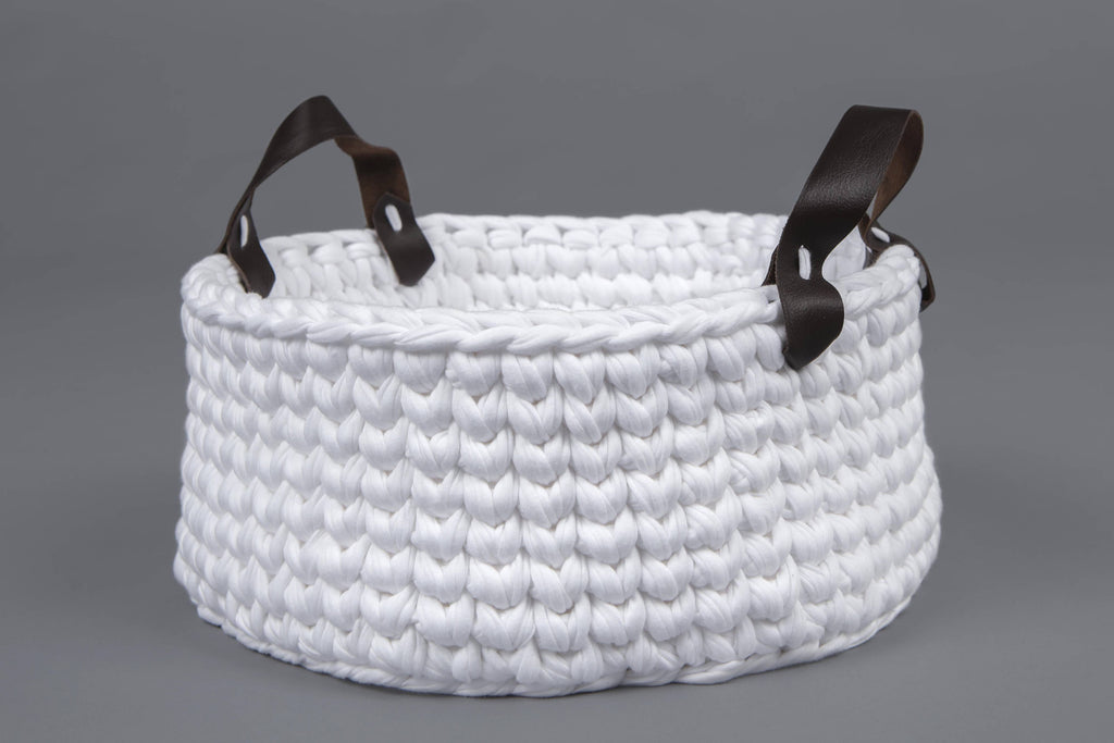 White Basket with Leather Handles