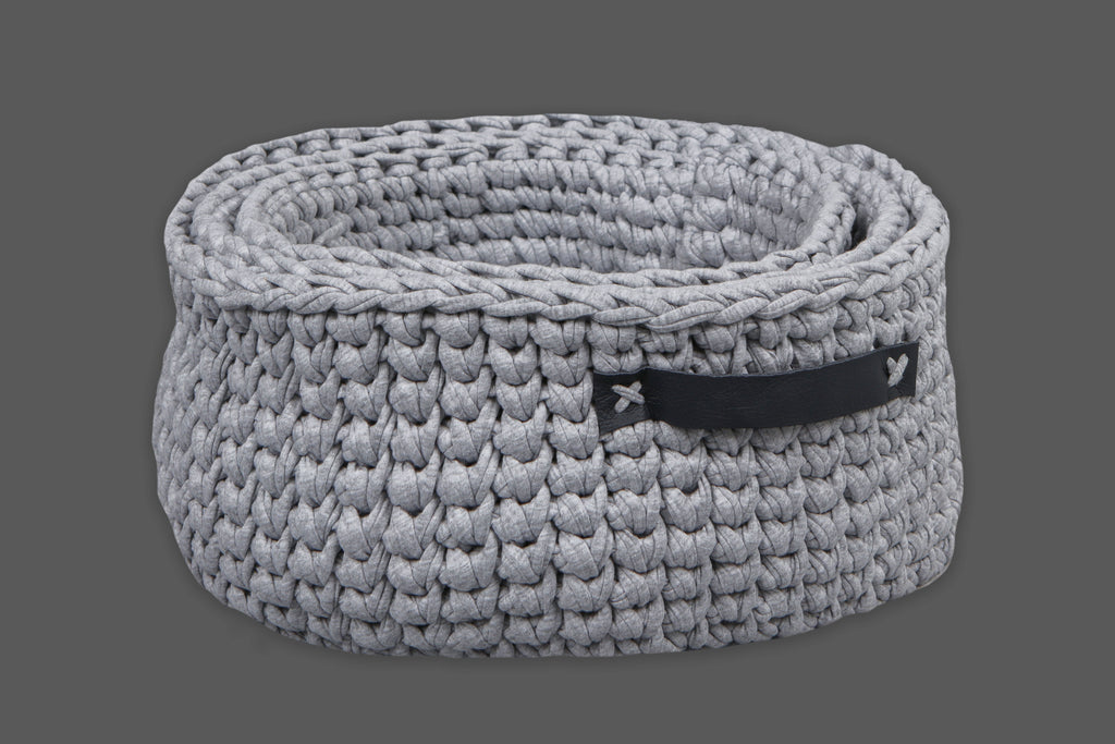 Grey Basket with Leather Handles