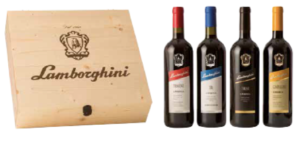 Lamborghini Wine Wooden Gift Box incl. Campoleone, Torami, Era, Trescone (4pcs x750ml)