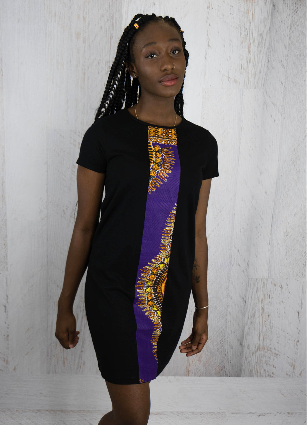 Purple african fabric Dress | Afrix Style
