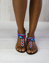 Load image into Gallery viewer, Blue Aztec Sandals