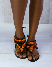 Load image into Gallery viewer, Orange Beaded Sandals