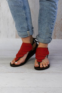 Red Flat Sandals
