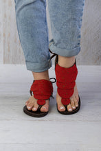 Load image into Gallery viewer, Red Flat Sandals