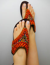Load image into Gallery viewer, Orange Full Over Sandals