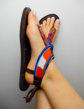 Load image into Gallery viewer, Orange Blue Black Sandals