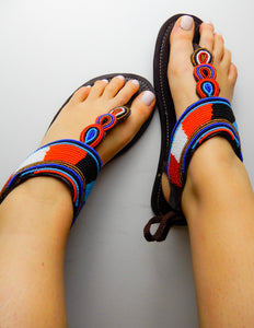 Orange Blue Black Sandals