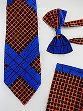 Load image into Gallery viewer, Blue and Orange Bow Tie Set