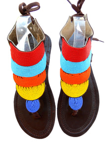 multi colour sandals front view. They are hand beaded and have a strong leather sole.