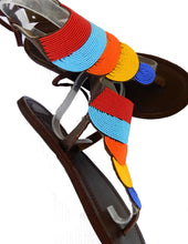 Load image into Gallery viewer, side and front view of multi colour sandals.