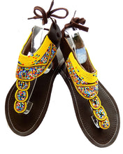 Load image into Gallery viewer, yellow beaded sandals top view