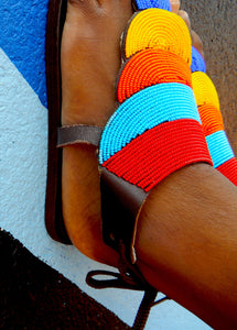 Side view of Block colour sandals