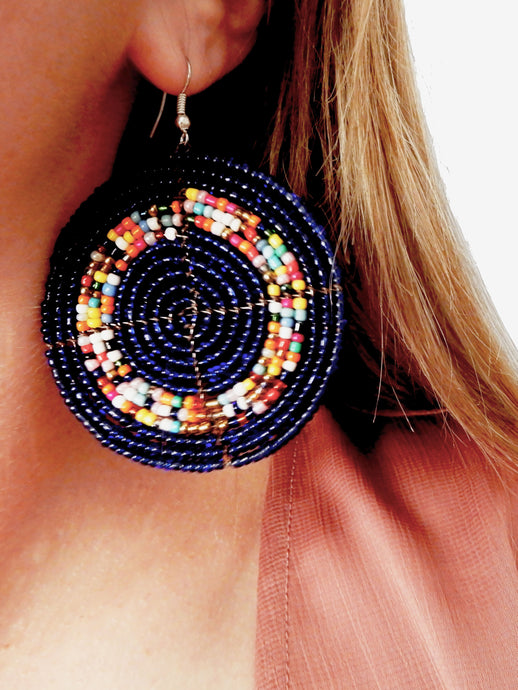 African Earring Beaded Round Blue