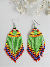 Load image into Gallery viewer, Green Dangle Earrings