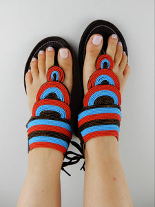Layered Sandal Blue & Red