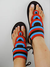 Load image into Gallery viewer, Layered Sandal Blue & Red
