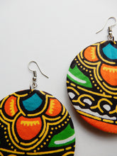 Load image into Gallery viewer, Orange African Fabric Earrings