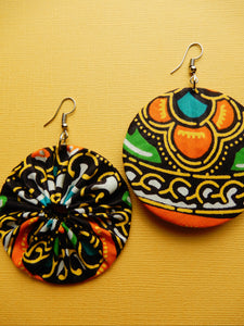 Orange African Fabric Earrings