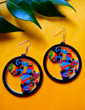 Load image into Gallery viewer, african flag earrings on yellow background