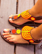 Load image into Gallery viewer, Orange Leather Sandals | Afrix Style