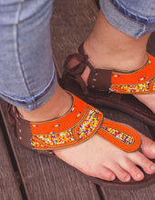 Load image into Gallery viewer, Orange Beaded Sandals | Afrix Style