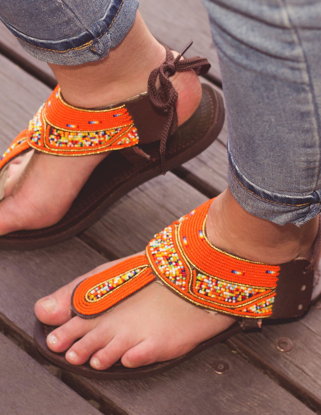 Orange Beaded Sandals | Afrix Style