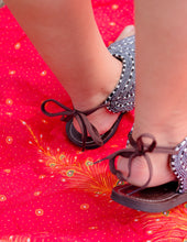 Load image into Gallery viewer, Black & White Beaded Sandals