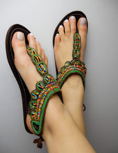 Load image into Gallery viewer, Afrix Style 41 (Size 10) Green Summer Sandals