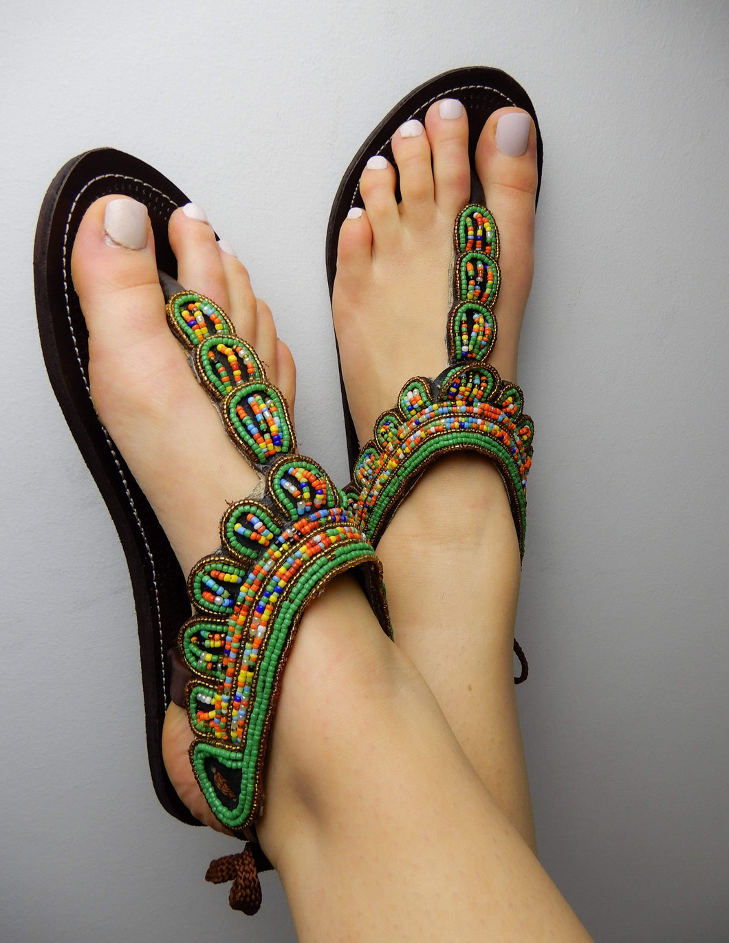 Afrix Style 41 (Size 10) Green Summer Sandals