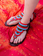 Load image into Gallery viewer, Afrix Style 41 (Size 10) Layered Sandal Blue & Red