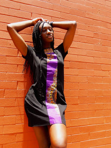 Afrix Style Dress Medium Purple african fabric Dress | Afrix Style