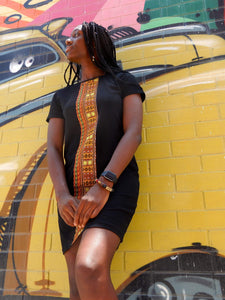 Afrix Style Dress Medium T-Shirt Dress with African Fabric