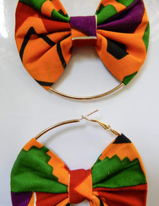 Afrix Style Gold Hoop Fabric Earrings