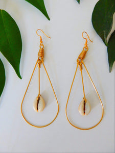 Afrix Style Looped Base Shell Earrings