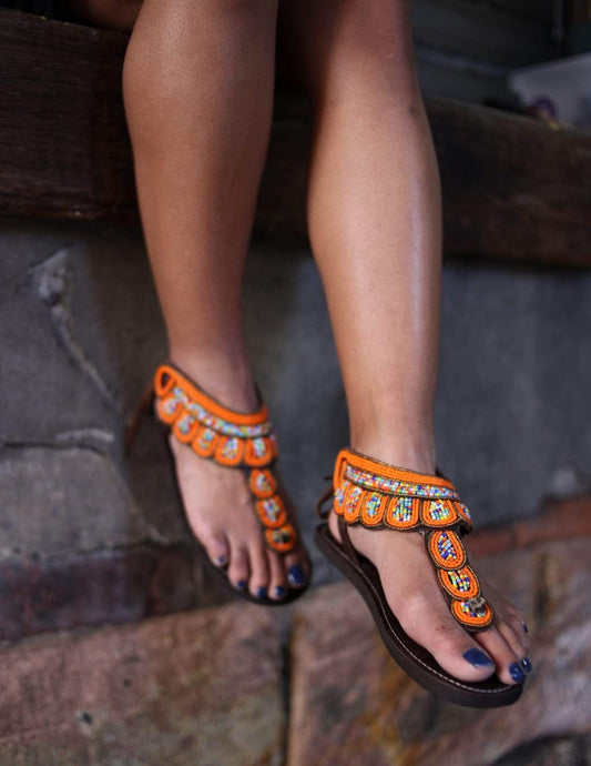 Afrix Style Orange Scattered Sandal