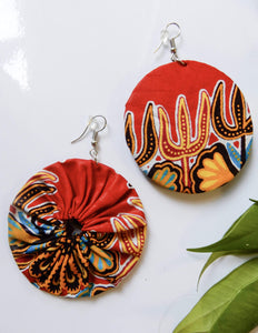 Afrix Style Red Fabric Earrings