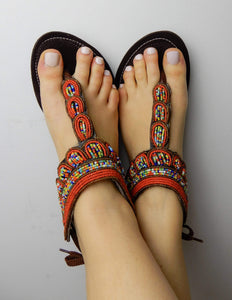 Afrix Style Red Sandals